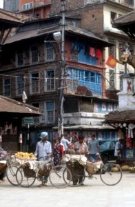 Kathmandu houses and a mellon seller