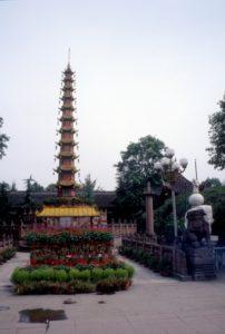 the Thousand Buddha Peace Pagoda, landmark in Chengdu