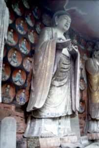 a sculpture at the entrance of the Dazu Buddhist caves