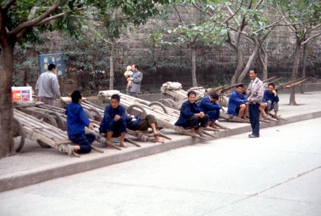 Dazu porters waiting for work