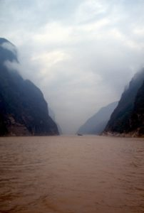 the entry to one of the Three Gorges - miserable weather