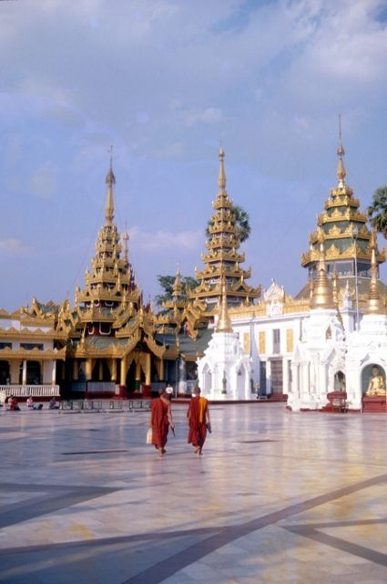 the marble floor inside the Shwedagon Paya