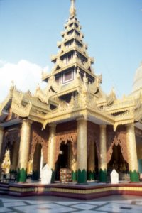 one of the buildings inside the Shwedagon Paya complex