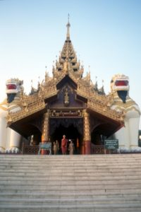 one of the four entrances to the Shwedagon Paya complex