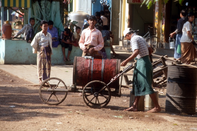 a water tanker in a village outside Yangon