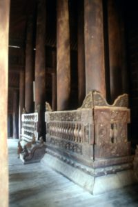 wooden pillars of the Bagaya Kyaung