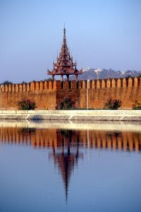 the wall and moat of the Mandalay Fort