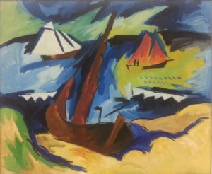"""well-represented is Karl Schmidt-Rottluff, here with """"Boats on the Beach"""" (1922)"""