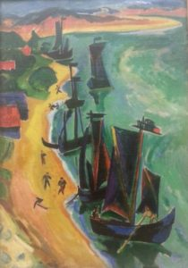 """another boat scene is from Max Pechstein, """"Returning Ships"""" (1919)"""