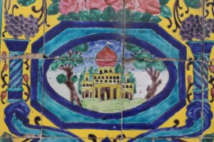 some of the many painted tiles in the palace