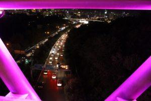 the traffic below