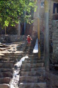 steep stairs in Ushtebin village