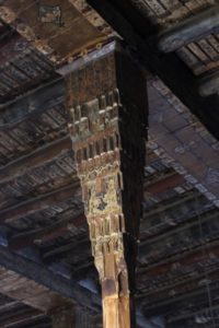 wooden pilar and ceiling in the mosque of Bonab