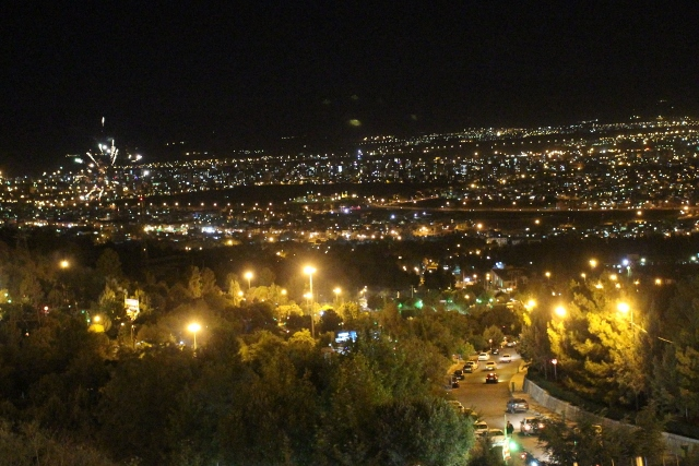Kermanshah at night, with to the left even some fire works exploding