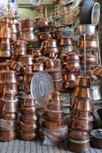 copperware in the bazaar