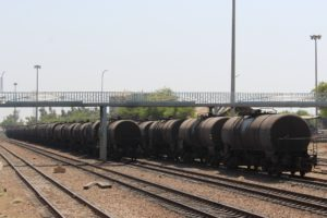 lots of oil wagons waiting