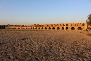 the Pol-e Si-0-Seh, bridge over the now dry Zayandeh River