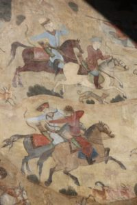 hunting scene frescos on the inside of the Qeysarieh Gate