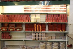 the inside of the most famous sweets shop in Yazd
