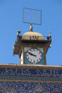 the mosque has no minaret, but a clock tower