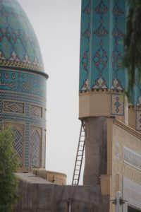 the mosque, with interesting access to the minaret