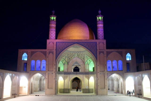 the main mosque, Mashed-e Agha Bozorg, austere inside, by nicely lit at night