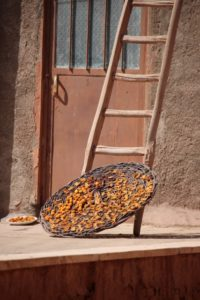 fruit being dried on a roof in Abyaneh