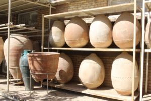 collection of ancient vases outside the museum