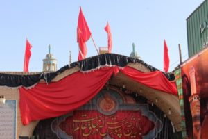 entrance of a tent erected for Moharram