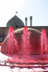 red-coloured fountains in Zanjan, just after Ashura