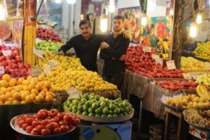 the fruit section of the bazaar