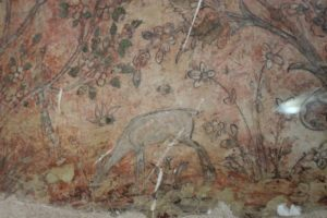 one of the few remaining frescos in the palace