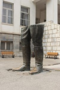 sculpture in the Sad-Abad complex: the boots of the former Shah, perhaps