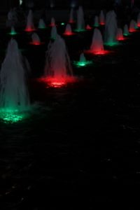 fountain lights in the Iranian colours