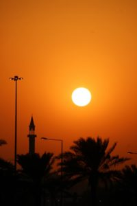 minaret along the Corniche of Doha at sunset