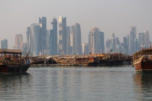 Doha bay, with traditional dhows.