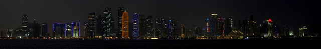 the night skyline of Doha