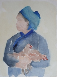 S08-15: Woman with chicken