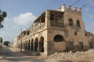 One of the many war-affected colonial buildings in Berbera