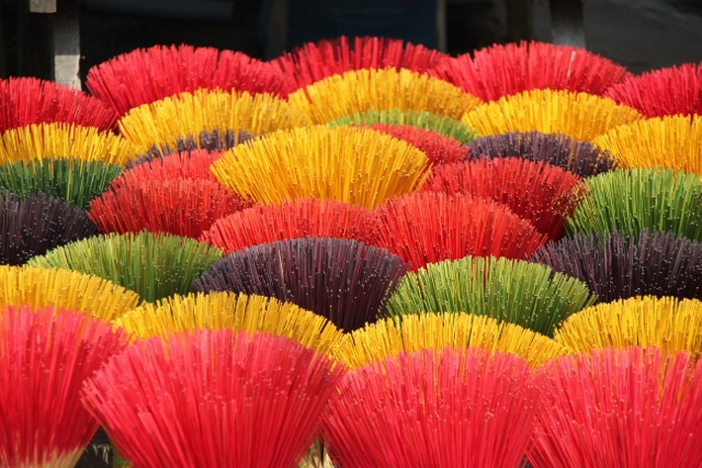 Incense sticks being sold outside one of the Royal Mausoleums