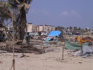 roped off plots on Pattinambakkam Beach, Chennai