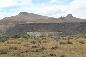 black basalt flow over white shales