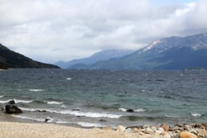 the lake shore, the choppy lake, and Chile on the far side
