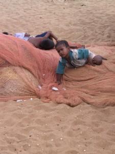 children playing on the beach of Kanyakumai