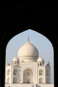 the Taj Mahal, as pictured so often, by so many