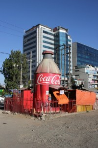 the ubiquitous Coca Cola kiosk, present all over town