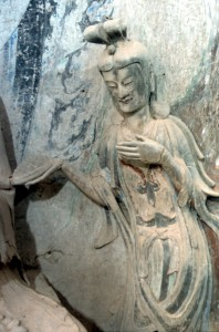sculpture, perhaps a Buddhist disciple