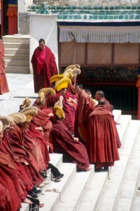 monks with yellow hats, ready for lunch