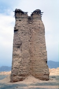 beacon tower in the desert outside Kuqa