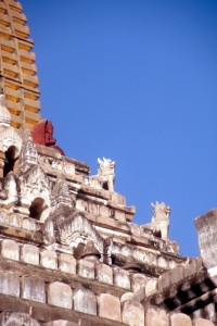 stupas of the Ananda temple decorated with small-size sculptures
